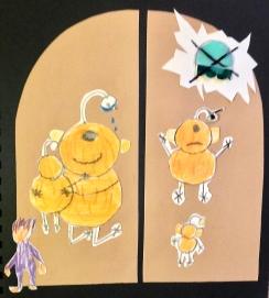 Kinderillustartie: alien moede omhelst haat zoon, dan met tekstballon met een kruis door zijn vliegende schotel